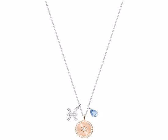 Swarovski smykke Zodiac, Pisces, Teal, Rhodium plating -  5349219