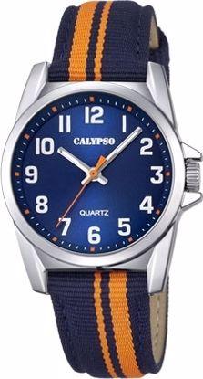Calypso barneur 5 atm blå/orange natorem,blå skive - K5707-4