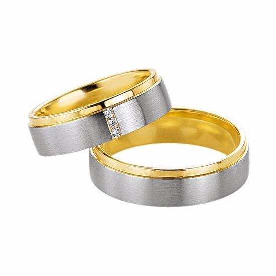 Gifteringer i hvitt & gult gull 14 kt, 6 mm. Passion - 4600217