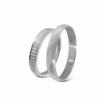 Giftering & diamantring hvitt gull 14 kt, 3 mm - 3307008-2303030