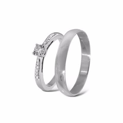 Giftering & diamantring hvitt gull 14 kt, 3 mm - 11100511-2303030