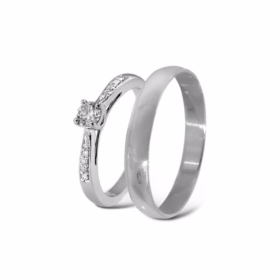 Giftering & diamantring hvitt gull 14 kt, 3 mm - 11100511-2303030
