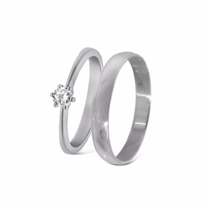 Giftering & diamantring hvitt gull 14 kt, 3 mm -18001020-2303030