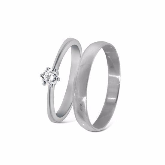 Giftering & diamantring hvitt gull 14 kt, 3 mm -18001020-2303030
