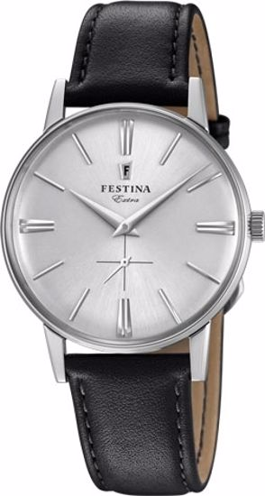 Festina Extra klokke stål 30m, brun rem, hvit skive - F20248-1