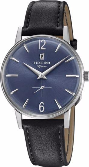 Festina Extra klokke stål 30m, sort rem, blå skive - F20248-3