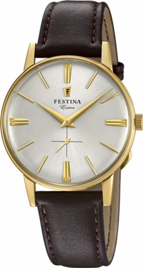 Festina Extra klokke duble 30m, brun rem, hvit skive - F20249-1