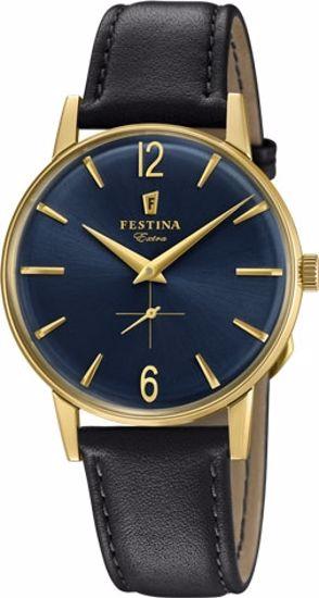Festina Extra klokke duble 30m, brun rem, blå skive - F20249-4