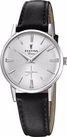 Festina Extra klokke stål 30m, brun rem, hvit skive - F20254-1