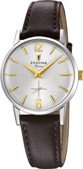Festina Extra klokke stål 30m, brun rem, hvit skive - F20254-2