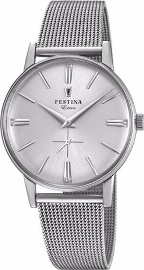 Festina Extra klokke 30m,stål,meshlenke,hvit skive - F20252-1