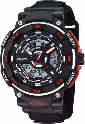 Calypso ana/digi,100 m, rem, sort/rød - K5673-6
