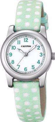 Calypso barneur 5 atm hvit/grønn rem/hvit skive - K5713-3
