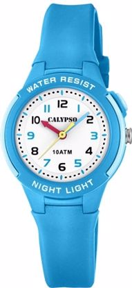 Calypso barneur ungdomsur, blå, hvit skive, m/lys - K6069-2