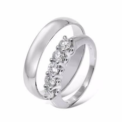 Giftering & diamantring hvitt gull 14 kt, 4 mm - 1340-AR01140