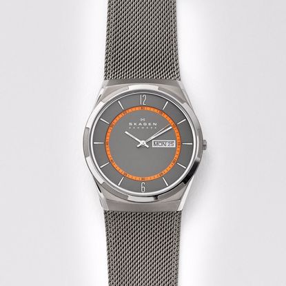 Skagen Melbye Titanium and Grey Steel-Mesh Day-Date Klokke - SKW6007P