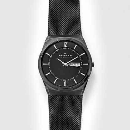Skagen Melbye Titanium and Black Steel-Mesh Day-Date Klokke - SKW6006P