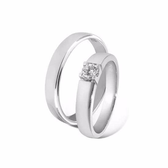 Giftering & diamantring 0,15ct i gull 14kt, 4 mm -8501015-11540