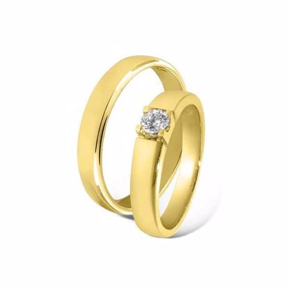 Giftering & diamantring 0,15ct i gull 14kt, 4 mm -85010150-115400
