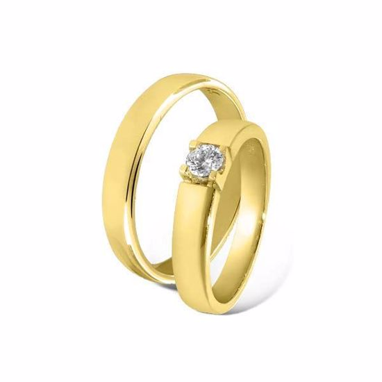 Giftering & diamantring 0,15ct i gull 14kt, 4 mm -85010150-115400