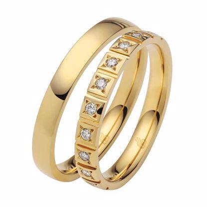 Giftering & diamantring 0,15 ct W-Si i gult gull 14kt, 3 mm -1103509000