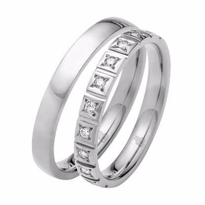 Giftering & diamantring 0,15 ct W-Si i hvitt gull 14kt, 3 mm -11035090 0000 -1035090 0000