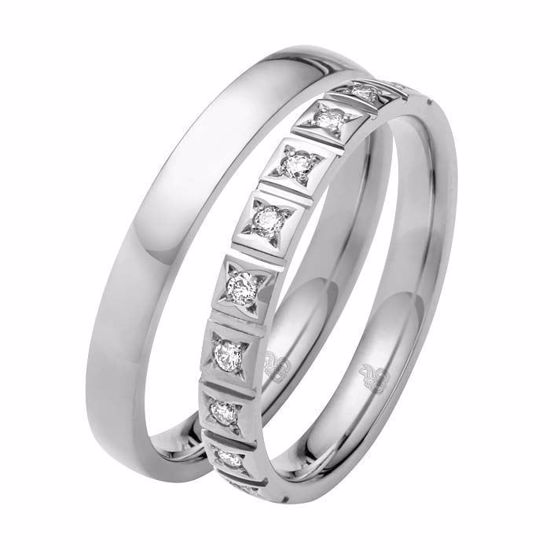 Giftering & diamantring 0,15 ct W-Si i hvitt gull 14kt, 3 mm -11035090 0000 -1035090 0000