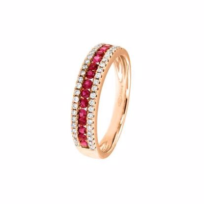 Diamantring i rosé gull 18 kt med diam 0,21ct og rubiner-80011R01R