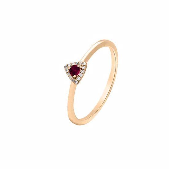 Diamantring i rosé gull 18 kt med diam 0,05ct og rubiner-К3245977