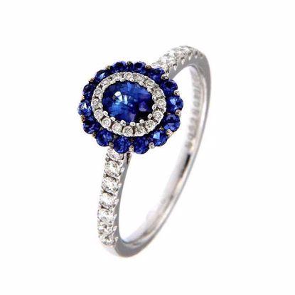Safir diamantring i hv. gull 18 kt med diam 0,33ct. GOVONI -RC03836BS-03