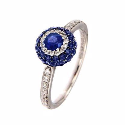Safir diamantring i hv. gull 18 kt med diam 0,22ct. GOVONI -RF10275BS-01
