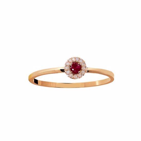 Rubin diamantring i rosé gull 18 kt med diam 0,04ct . GOVONI -R32456-184