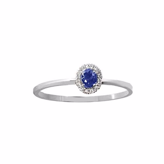 Safir diamantring i hv. gull 18 kt med diam 0,07ct. GOVONI -RF07406BS-01