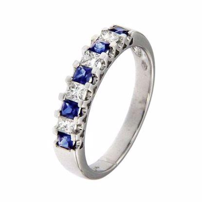 Safir diamantring i hv. gull 18 kt med diam 0,32ct. GOVONI-R2667BS