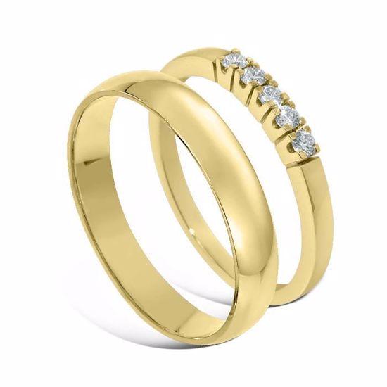 Giftering & diamantring Iselin gult gull 14 kt, 4 mm - 1240-85050300