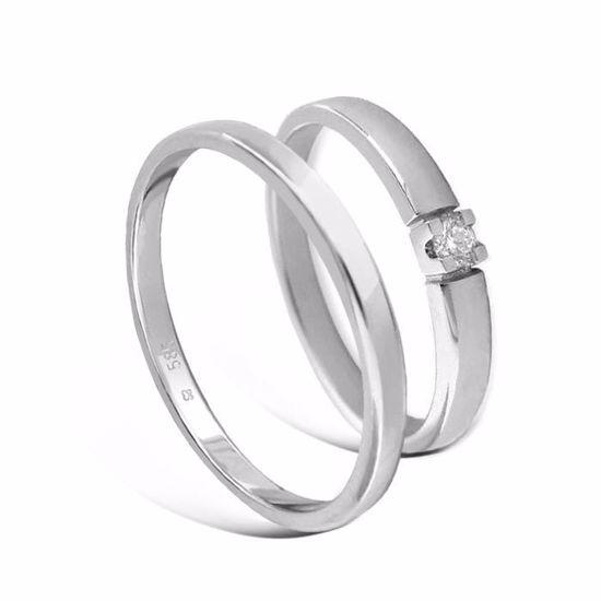Giftering & diamantring Iselin hvitt gull 14kt, 2.5 mm - 115250-8501005