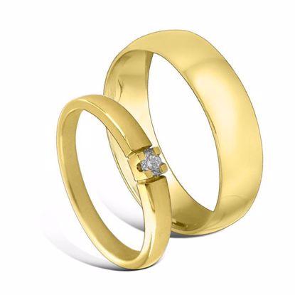 Giftering & diamantring Iselin gult gull 14 kt, 2.5 mm - 1250-85010050
