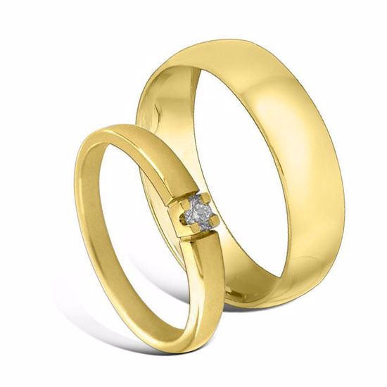 Giftering & diamantring Iselin gult gull 14 kt, 2.5 mm - 1250-85010050