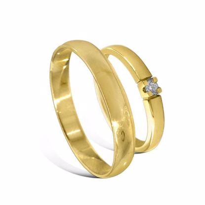 Giftering & diamantring Iselin gult gull 14 kt, 3 mm - 230303-85010050