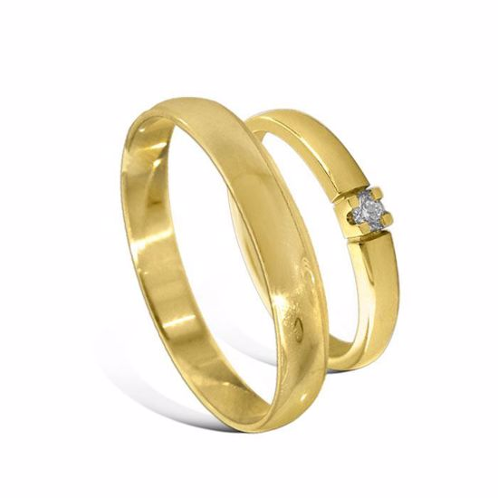 Giftering & diamantring Iselin gult gull 14 kt, 3 mm - 230303-85010050