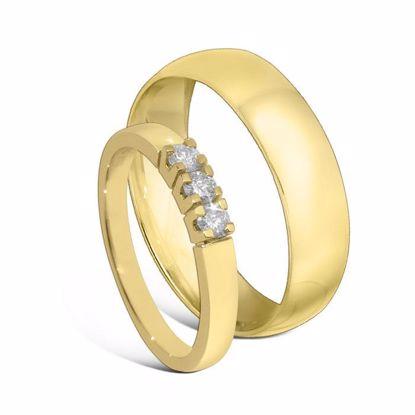 Giftering & diamantring Iselin gult gull 14 kt, 5 mm - 1250-85030700