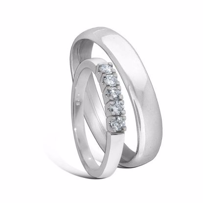 Giftering & diamantring Iselin hvitt gull 14 kt, 4 mm -1540-8505050