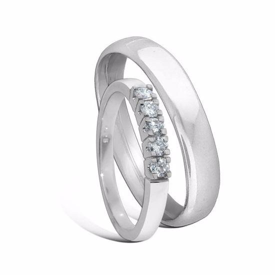 Giftering & diamantring Iselin hvitt gull 14 kt, 4 mm -1540-8505050