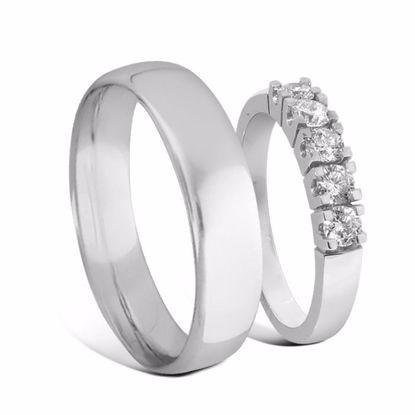 Giftering & diamantring Iselin 0,50ct hvitt gull 14k, 3 mm - 1550-8505010