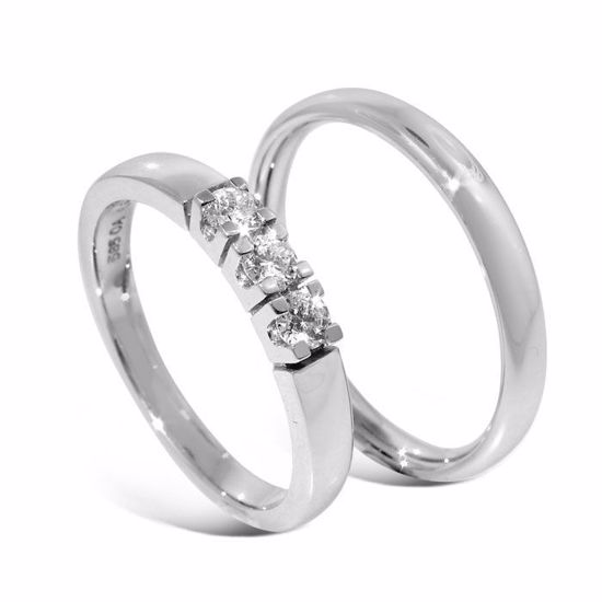 Giftering & diamantring Iselin hvitt gull 14 kt, 3 mm - 1530-8503010