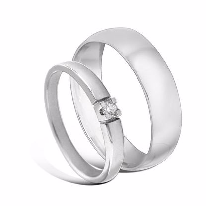 Giftering & diamantring Iselin hvitt gull 14k, 2.5 mm - 1350-8501005