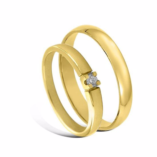 Giftering & diamantring Iselin 0,05ct gult gull, 3 mm - 1230-85010050