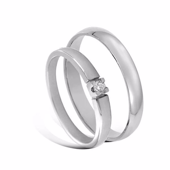 Giftering & diamantring Iselin 0,05ct hvitt gull, 3 mm - 1330-8501005