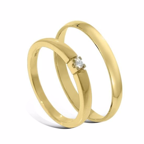 Giftering & diamantring Iselin gult gull 14k, 2.5 mm - 1225-85010030