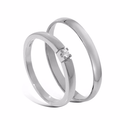 Giftering & diamantring Iselin hvitt gull 14 kt, 2.5 mm - 1325-8501003